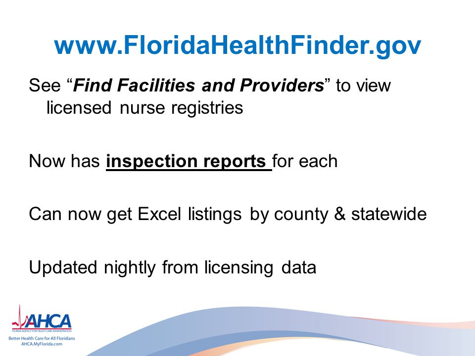 www.FloridaHealthFinder.gov See Find Facilities and Providers to view licensed nurse registries. Now has inspection reports for each.