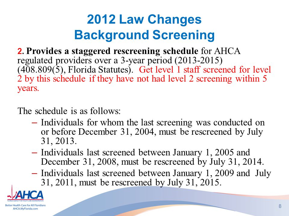 2012 Law Changes Background Screening