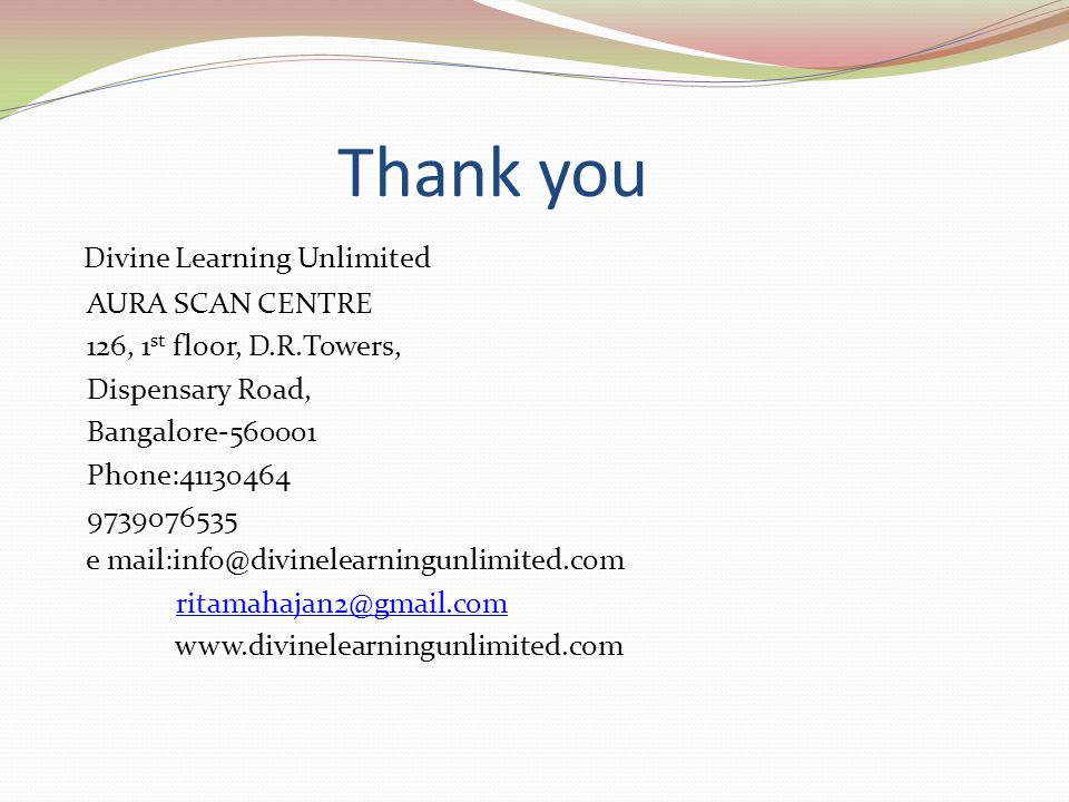 Thank you Divine Learning Unlimited AURA SCAN CENTRE