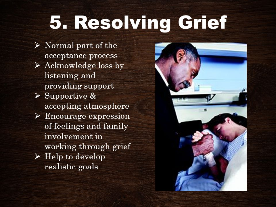 5. Resolving Grief Normal part of the acceptance process