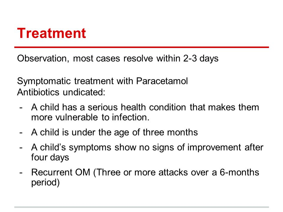 Treatment Observation, most cases resolve within 2-3 days