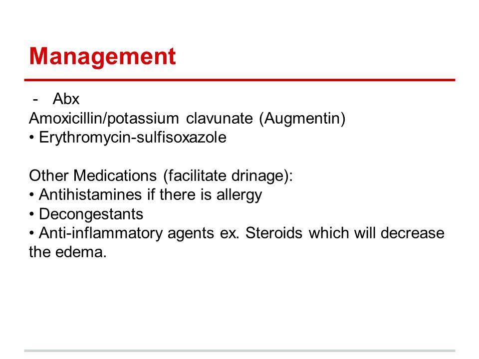 Management Abx Amoxicillin/potassium clavunate (Augmentin)