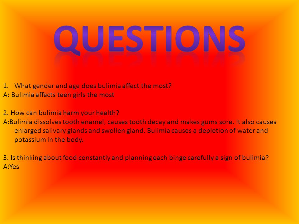 Questions What gender and age does bulimia affect the most