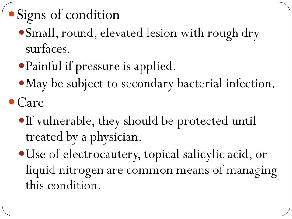 Signs of condition Care