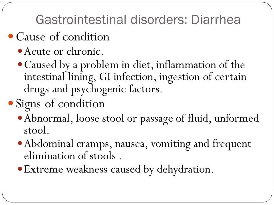 Gastrointestinal disorders: Diarrhea