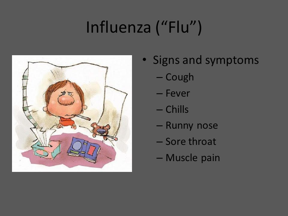 Influenza ( Flu ) Signs and symptoms Cough Fever Chills Runny nose