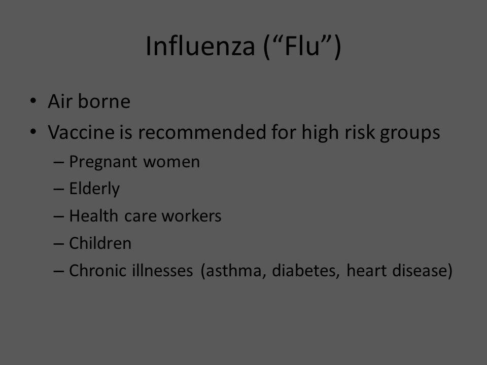 Influenza ( Flu ) Air borne