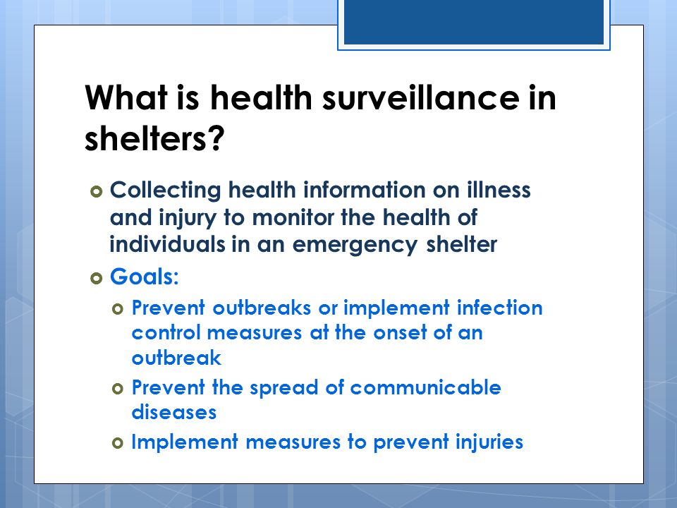 What is health surveillance in shelters