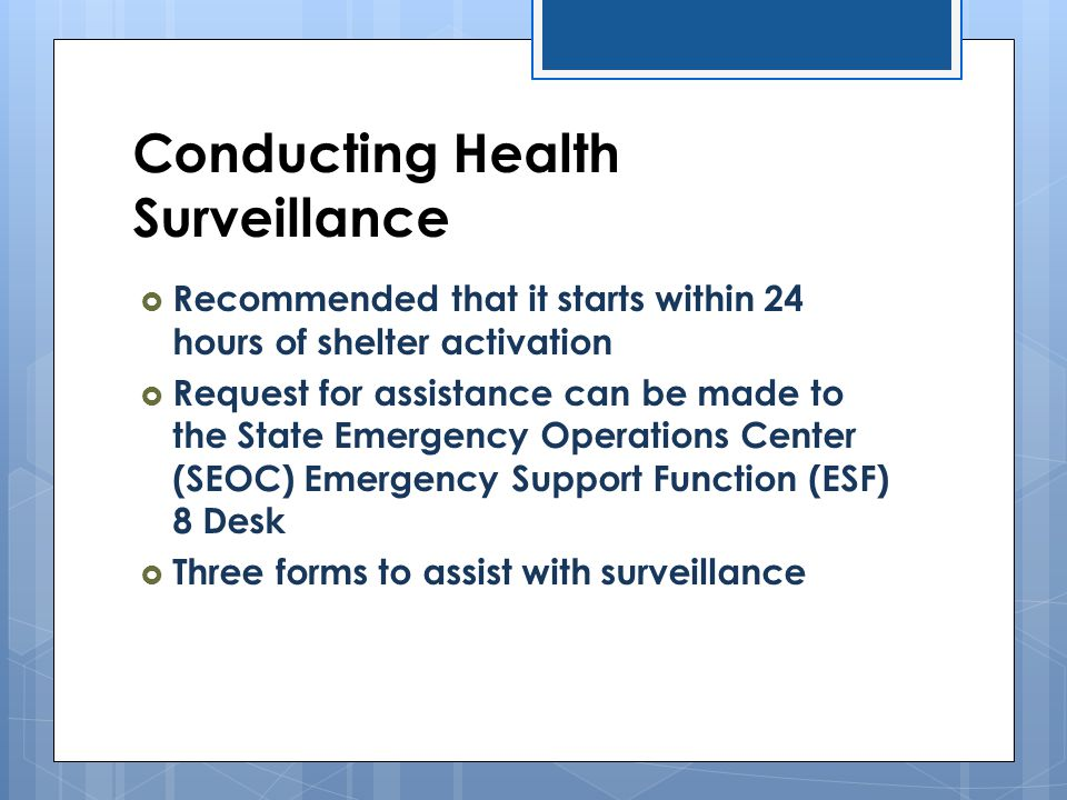 Conducting Health Surveillance