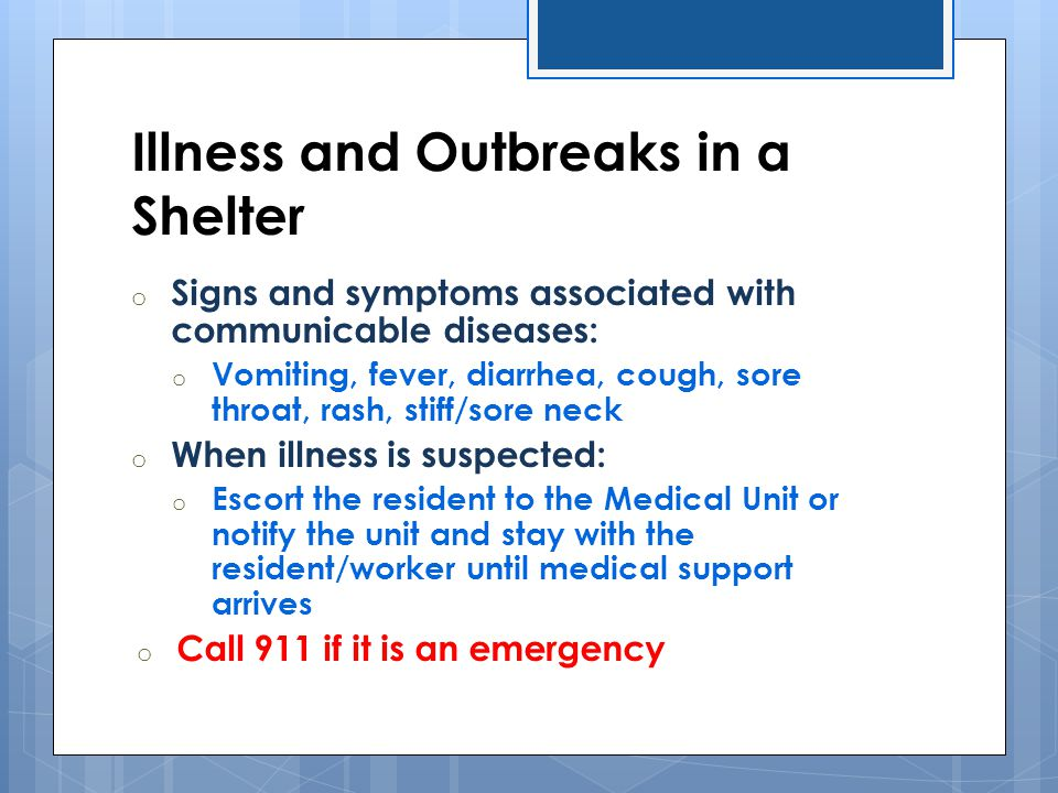 Illness and Outbreaks in a Shelter