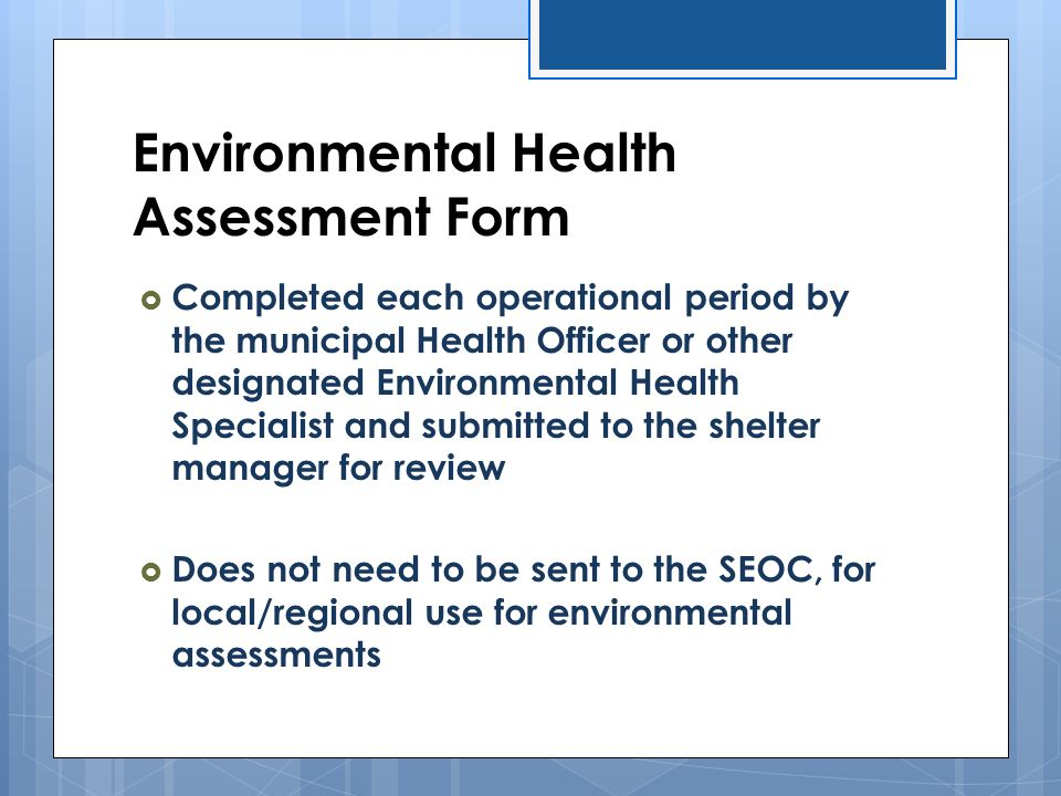 Environmental Health Assessment Form