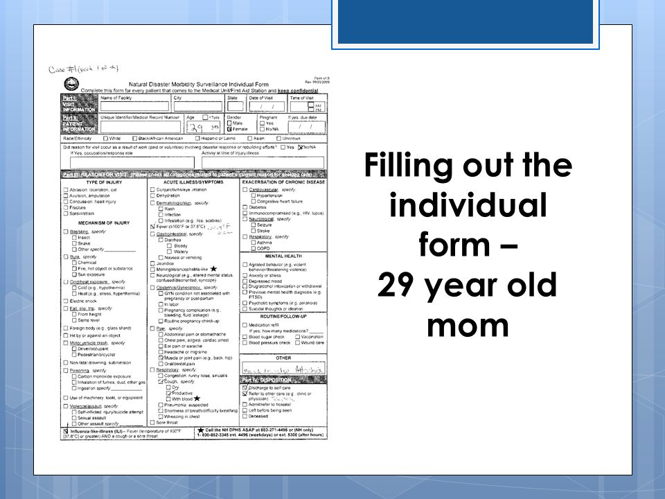 Filling out the individual form – 29 year old mom