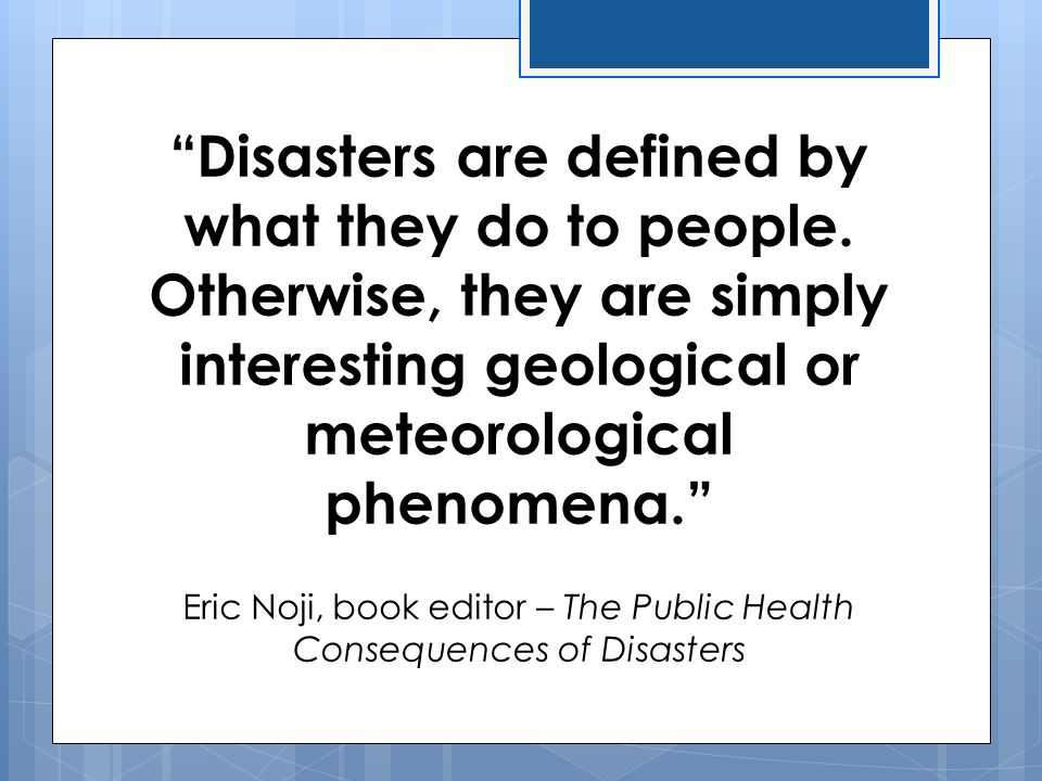 Eric Noji, book editor – The Public Health Consequences of Disasters
