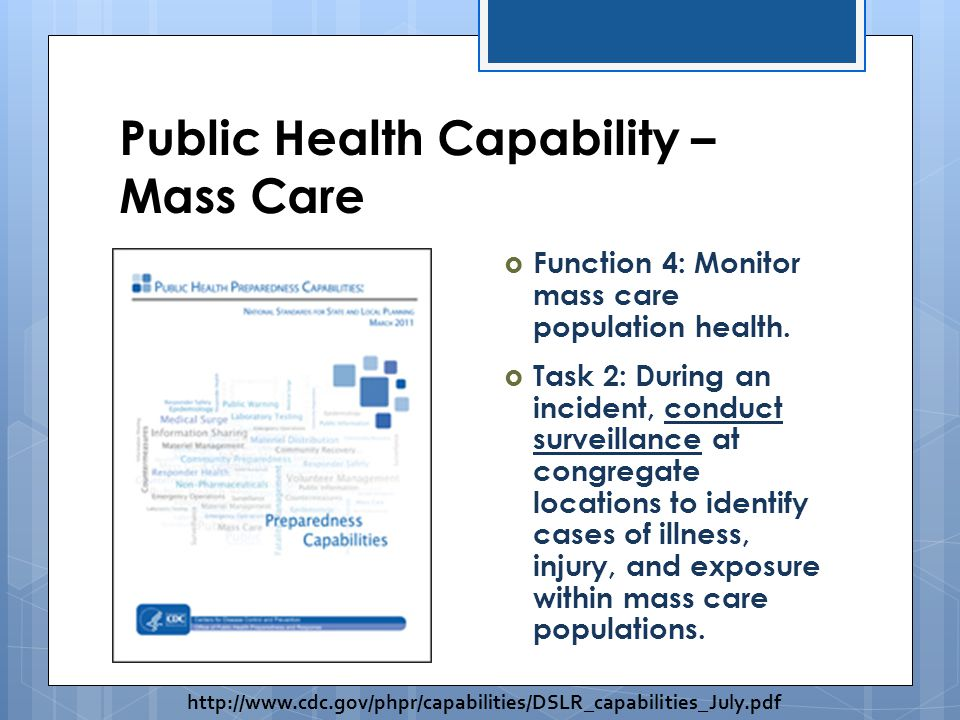 Public Health Capability – Mass Care