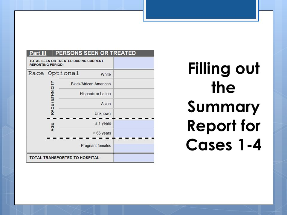 Filling out the Summary Report for Cases 1-4