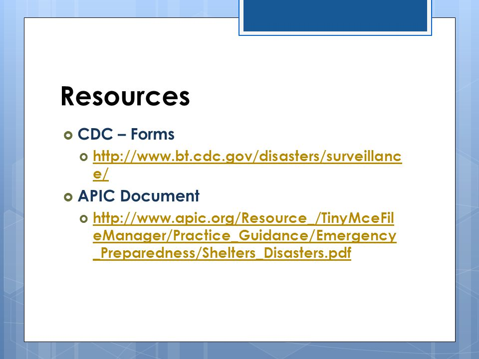 Resources CDC – Forms APIC Document