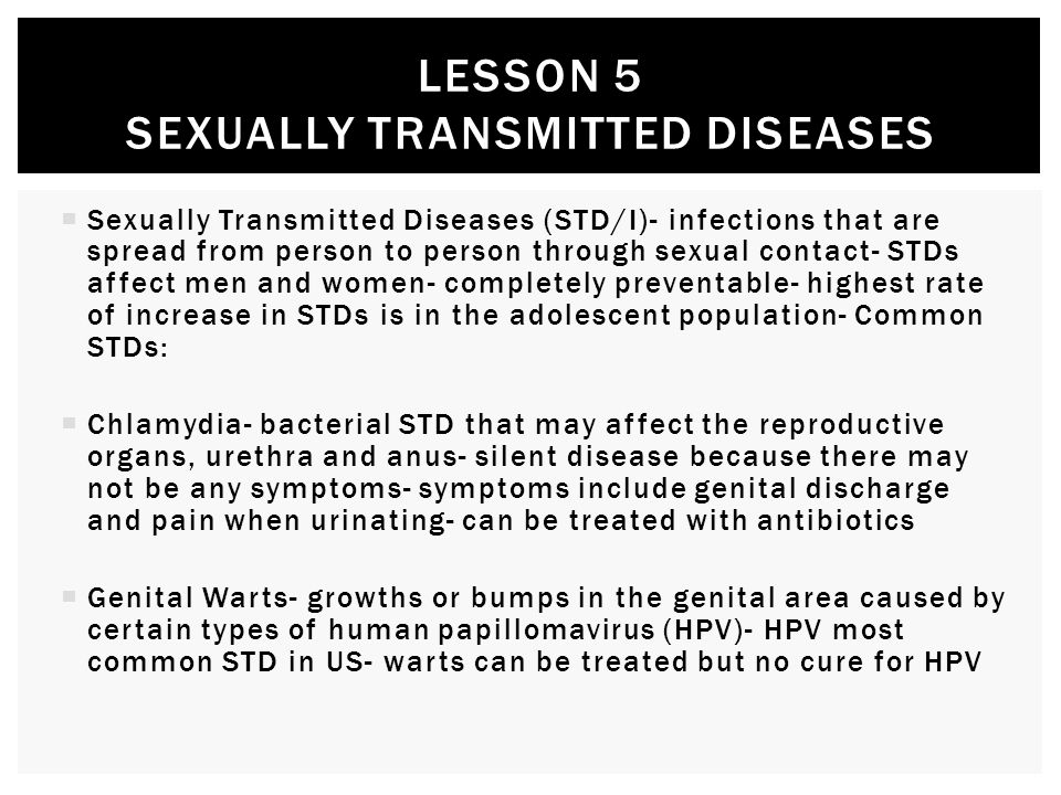 Lesson 5 sexually transmitted diseases