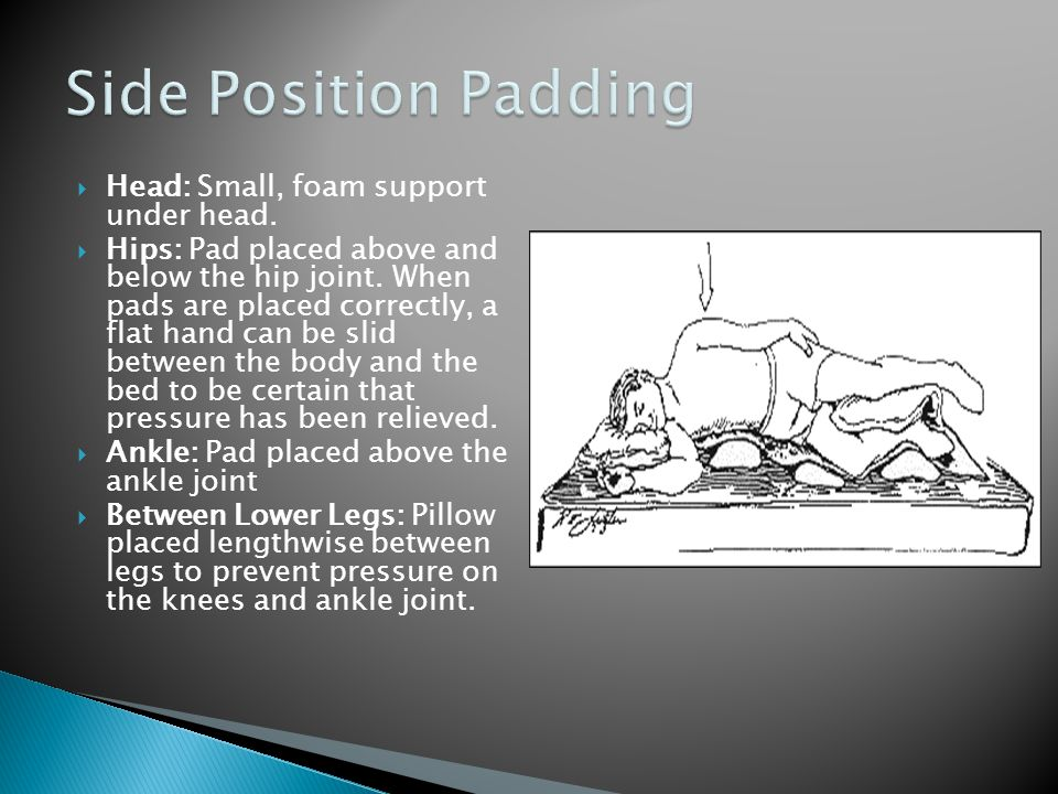 Side Position Padding Head: Small, foam support under head.