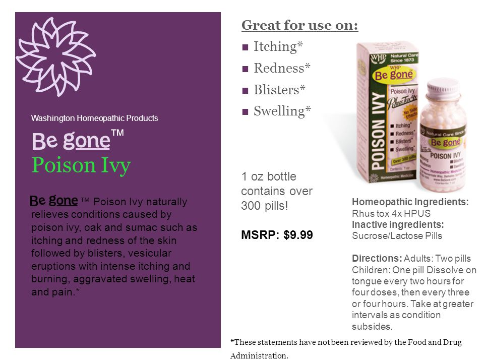 Great for use on: Itching* Redness* Blisters* Swelling* ™ Washington Homeopathic Products. Poison Ivy.