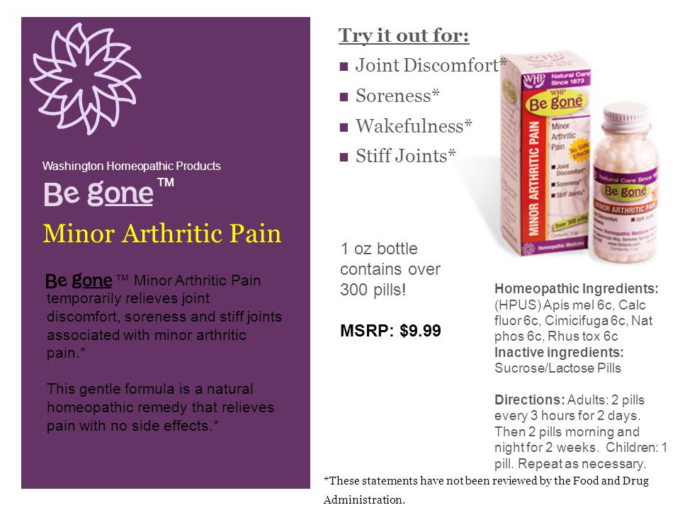 Try it out for: Joint Discomfort* Soreness* Wakefulness* Stiff Joints* Washington Homeopathic Products.