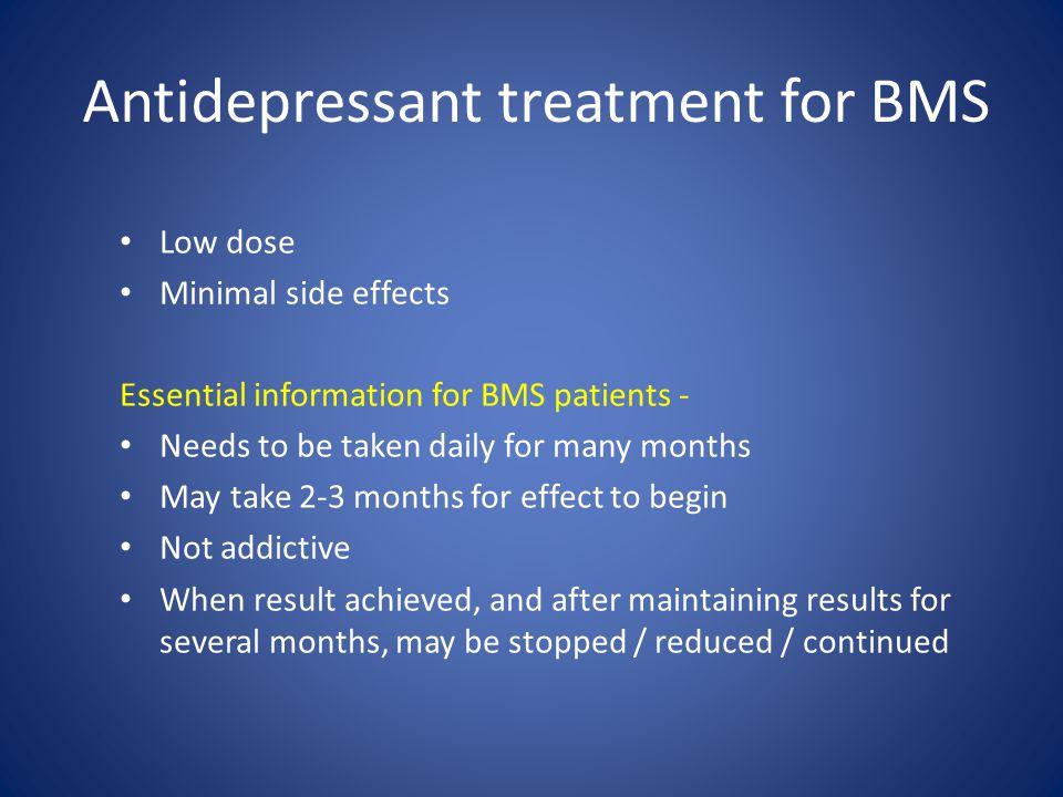 Antidepressant treatment for BMS