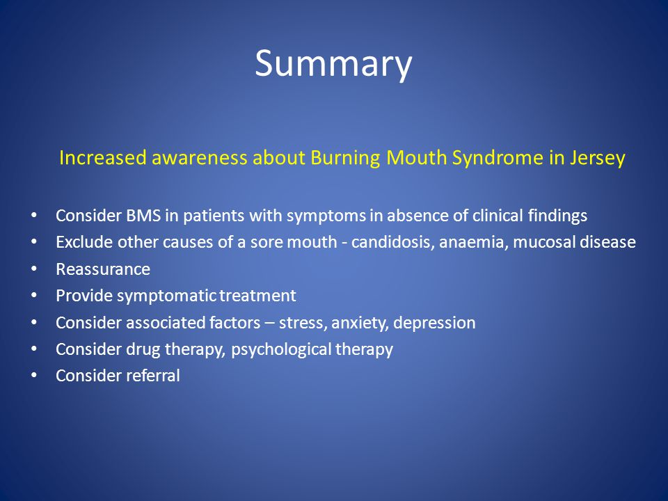Increased awareness about Burning Mouth Syndrome in Jersey