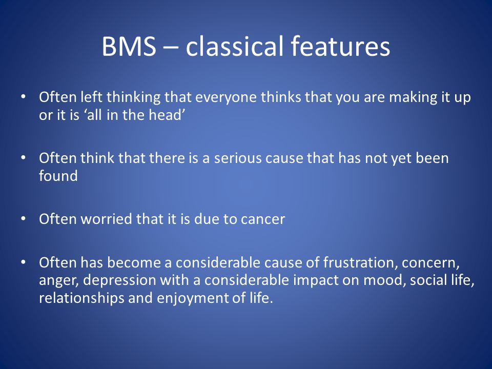 BMS – classical features