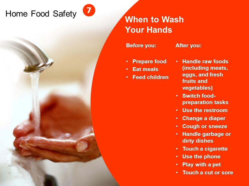 Home Food Safety When to Wash Your Hands Before you: Prepare food