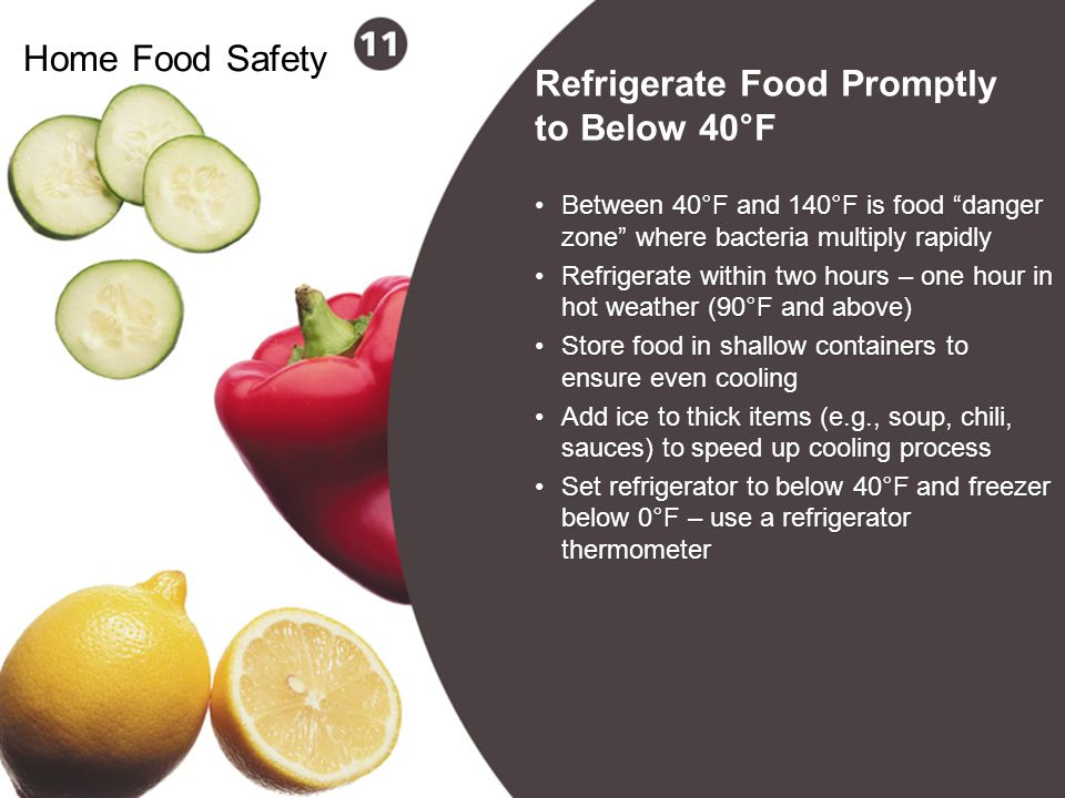 Refrigerate Food Promptly to Below 40°F