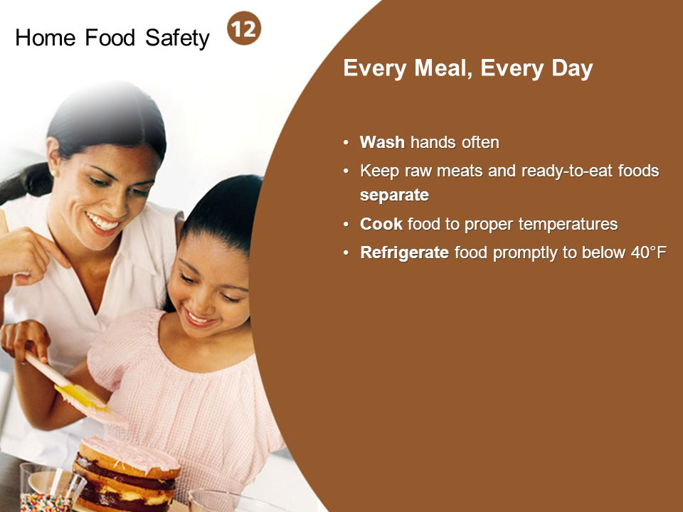 Home Food Safety Every Meal, Every Day Wash hands often