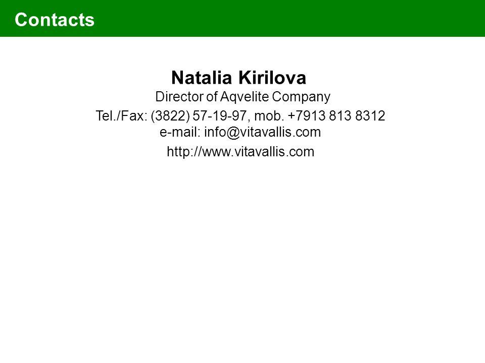 Natalia Kirilova Director of Aqvelite Company