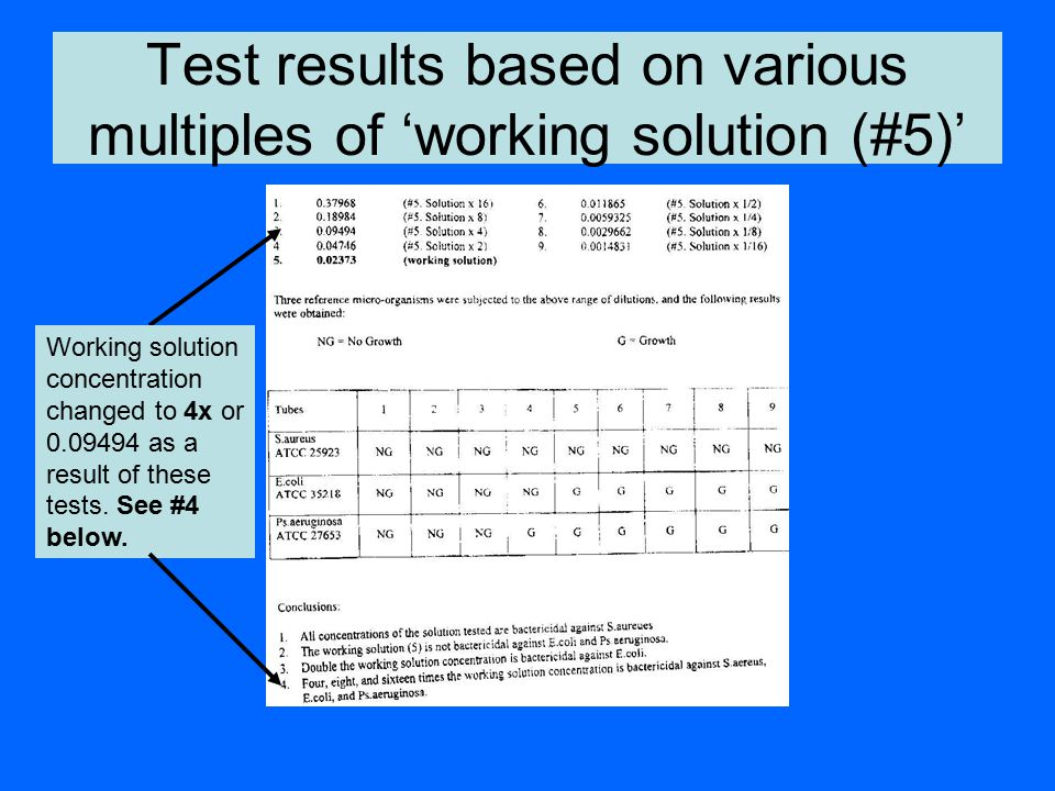 Test results based on various multiples of 'working solution (#5)'