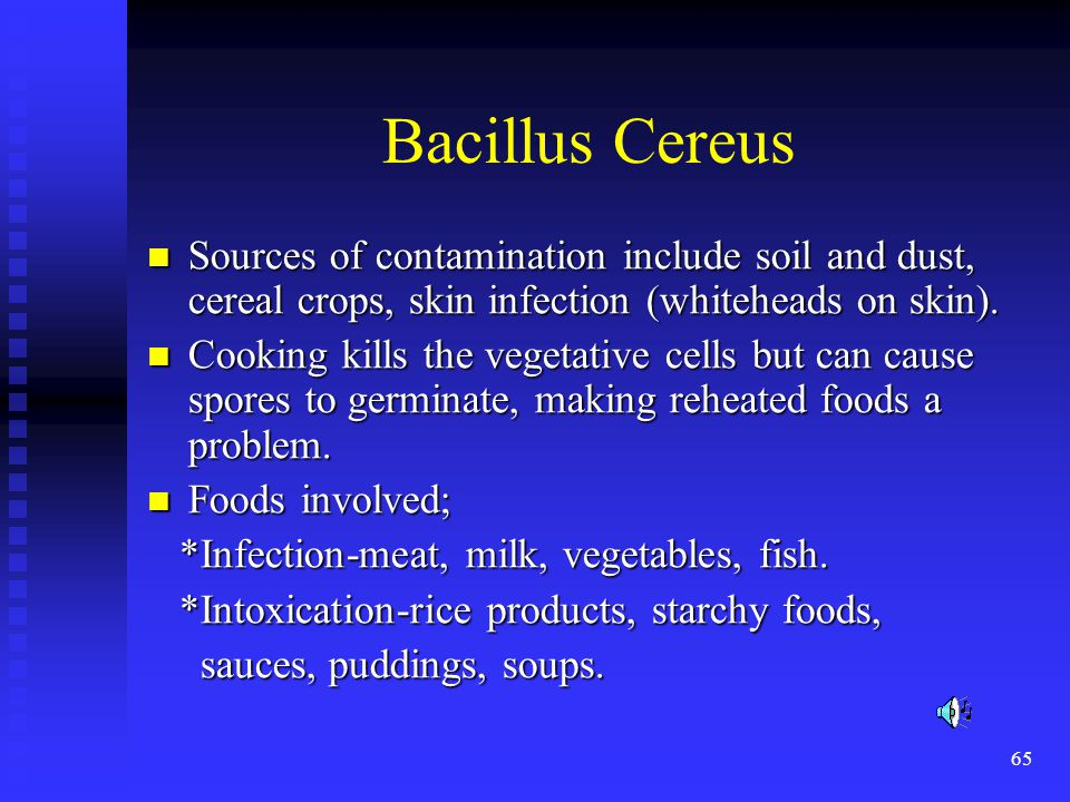 Bacillus Cereus Sources of contamination include soil and dust, cereal crops, skin infection (whiteheads on skin).