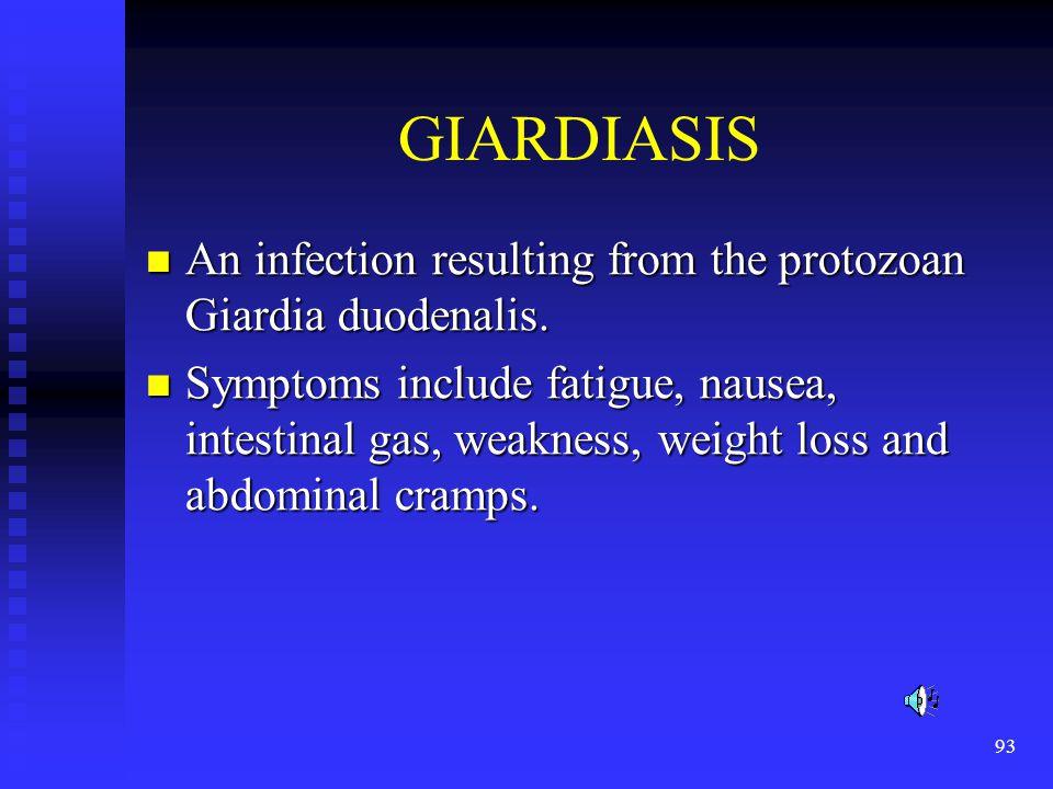 GIARDIASIS An infection resulting from the protozoan Giardia duodenalis.
