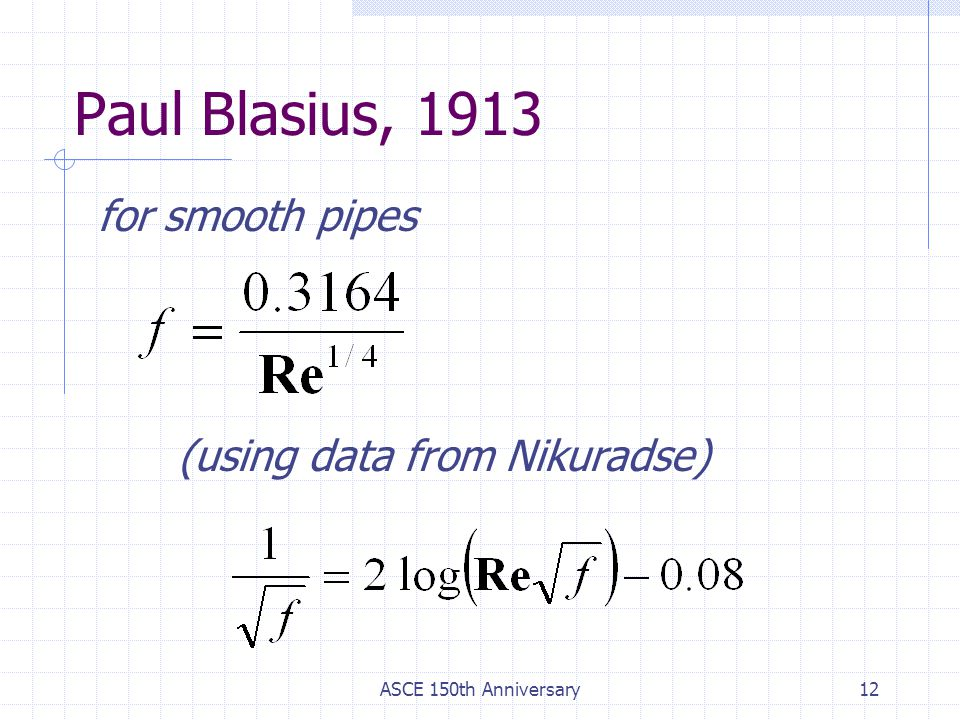 Paul Blasius, 1913 for smooth pipes (using data from Nikuradse)