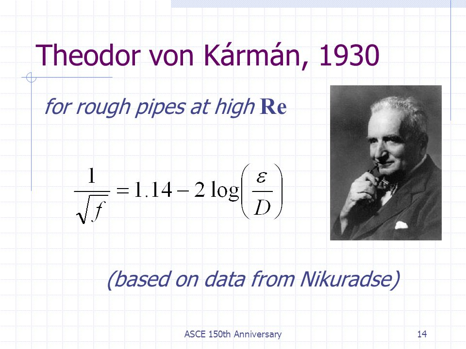 Theodor von Kármán, 1930 for rough pipes at high Re