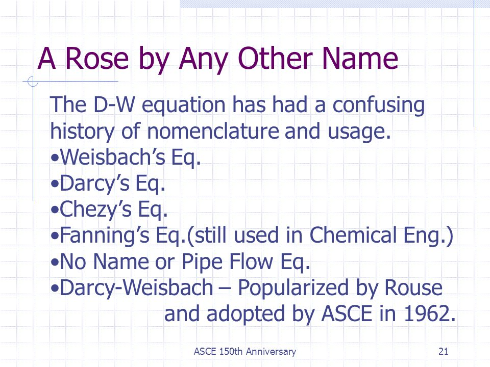 A Rose by Any Other Name The D-W equation has had a confusing history of nomenclature and usage. Weisbach's Eq.