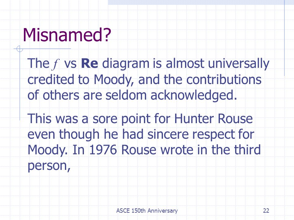 Misnamed The f vs Re diagram is almost universally credited to Moody, and the contributions of others are seldom acknowledged.