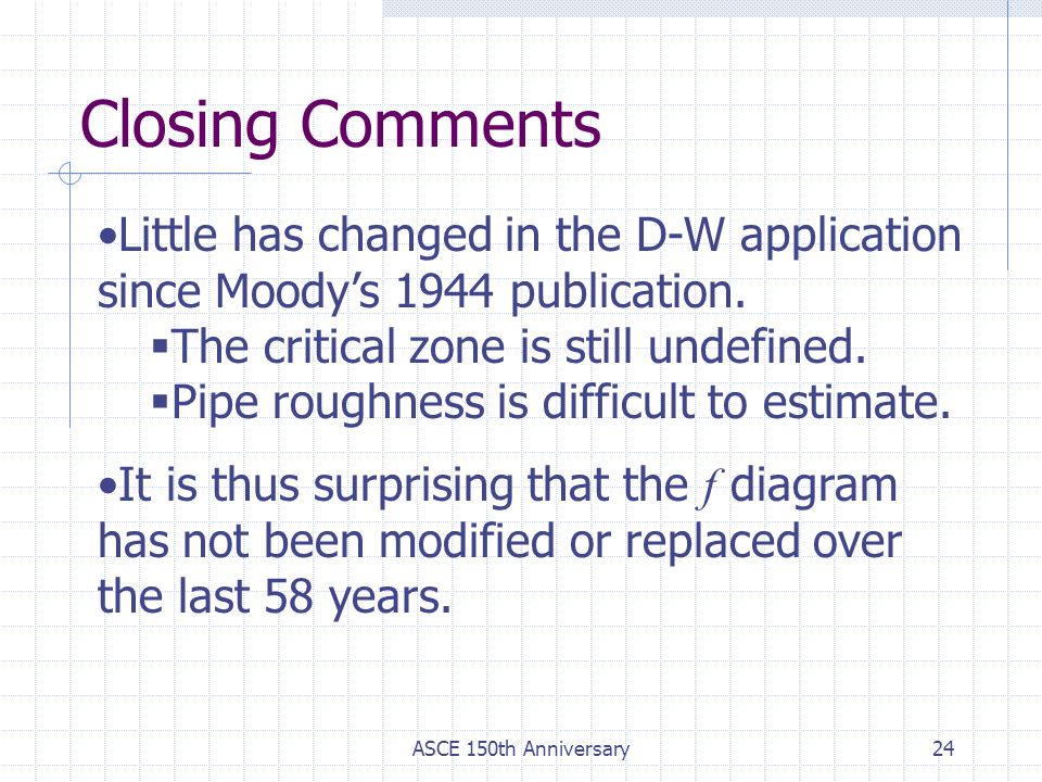 Closing Comments Little has changed in the D-W application since Moody's 1944 publication. The critical zone is still undefined.