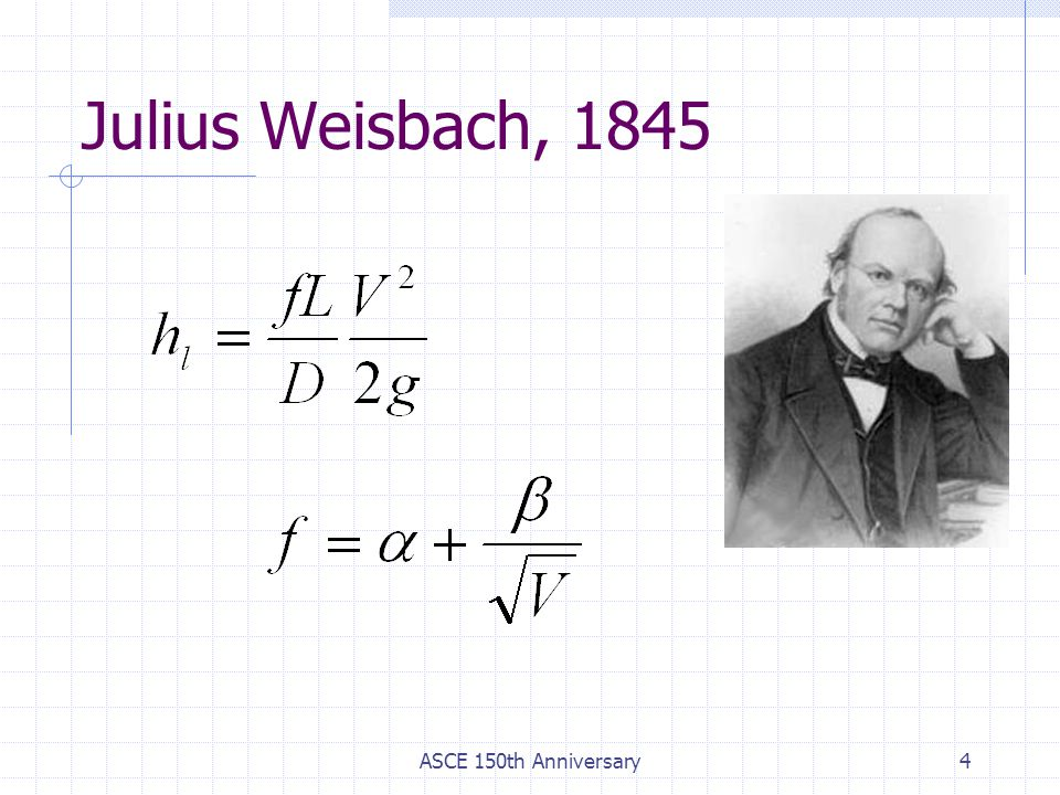Julius Weisbach, 1845 ASCE 150th Anniversary