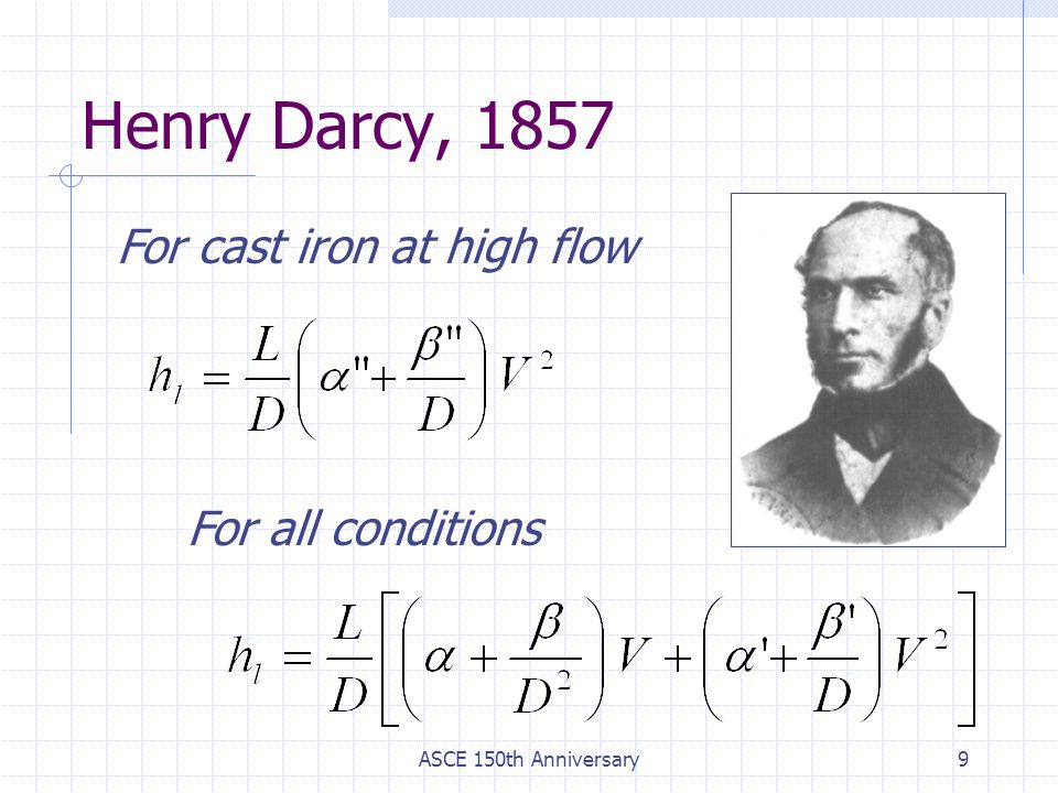 Henry Darcy, 1857 For cast iron at high flow For all conditions