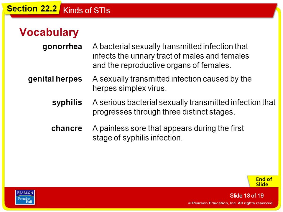 Vocabulary gonorrhea.
