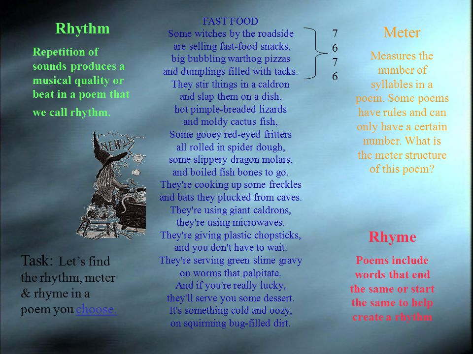 Task: Let's find the rhythm, meter & rhyme in a poem you choose.