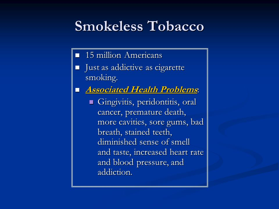 Smokeless Tobacco 15 million Americans