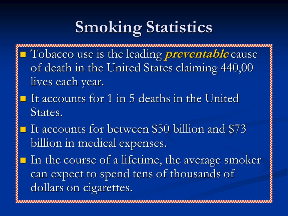 Smoking Statistics Tobacco use is the leading preventable cause of death in the United States claiming 440,00 lives each year.