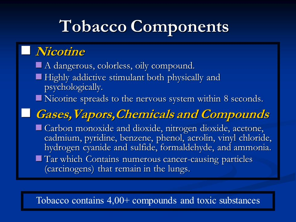 Tobacco contains 4,00+ compounds and toxic substances