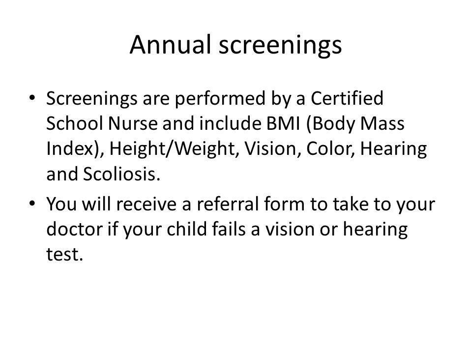 Annual screenings