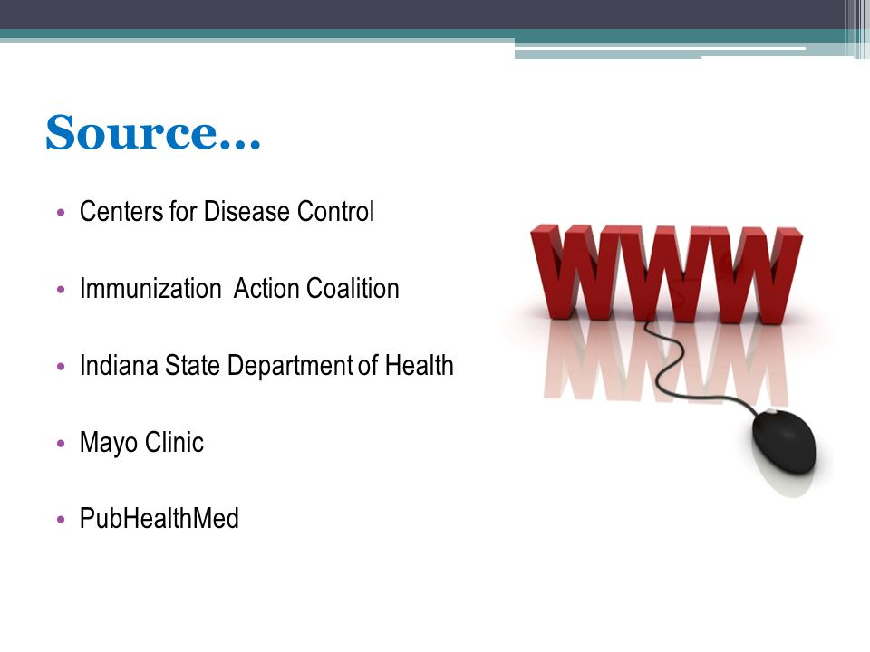 Source… Centers for Disease Control Immunization Action Coalition