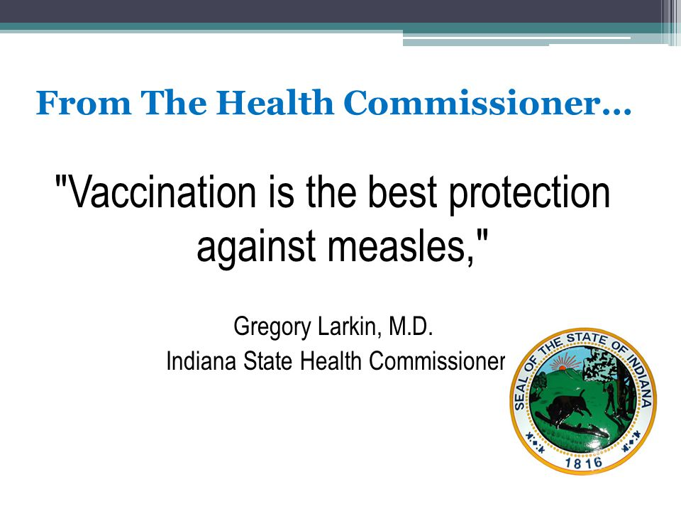 From The Health Commissioner…