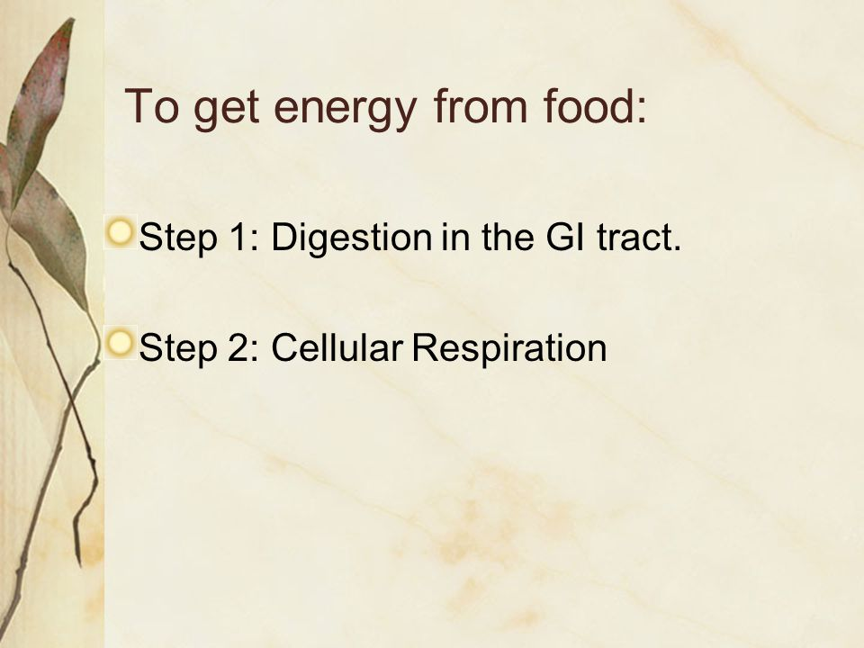 To get energy from food: